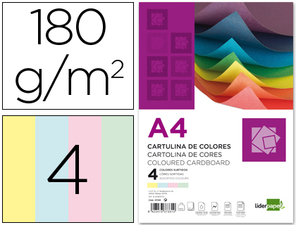 CARTOLINA A4/180GR.EMB. C/100FLS 4 CORES SORT * 37331
