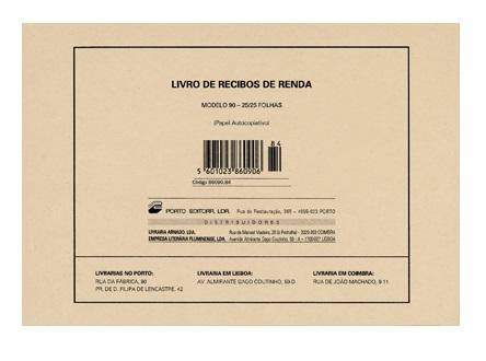 LIVRO RECIBO DE RENDA MODELO 1/90  25X25